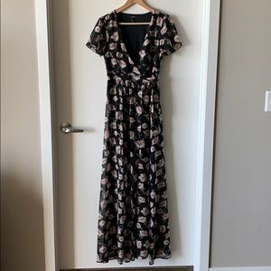 Floral Maxi Dress with Front Tie
